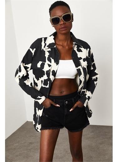 XHAN Siyah Cow Desenli Ceket 1Kxk4-44841-87 Siyah